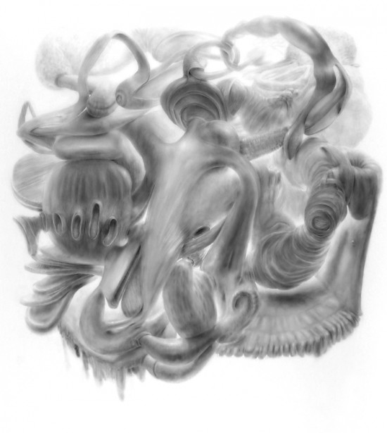 """Vumb,"" 2010, powdered graphite on mylar, 55 x 55 inches"