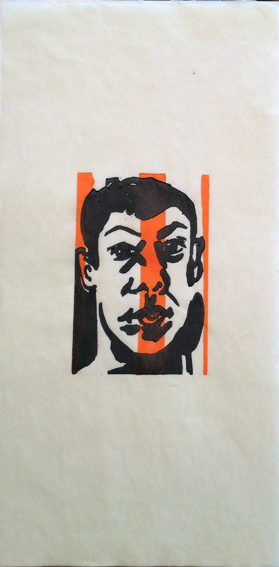 "Untitled woodblock portrait, 2014, ed 6, 12""x6"""