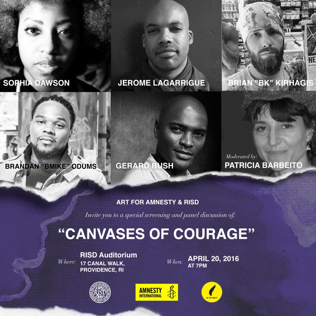 Canvases of Courage- RISD + Art for Amnesty