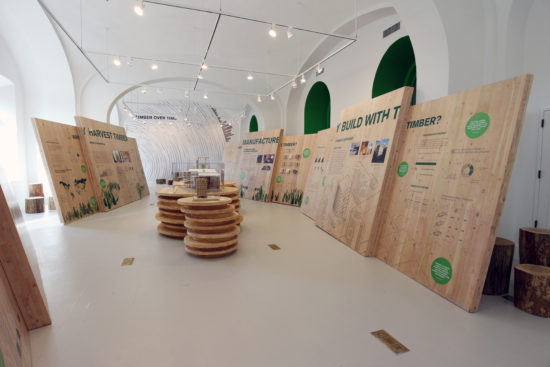View of the timber lifecycle zone where CLT from both Smartlam and DR Johnson(the two first US producers of CLT) are showcased acting as both installation environment, exhibition wall, material samples, pedestals and wayfinding,