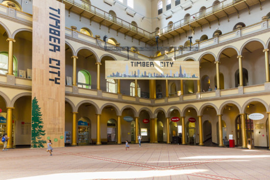 Over 12,000 lbs of domestically grown, harvested, and manufactured CLT displayed in the National Building Museum atrium alone for the Timber City Exhibition. Photo by Yassine al Mansouri, courtesy National Building Museum.